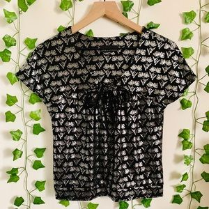 Attention Floral Metallic Bow Design Blouse